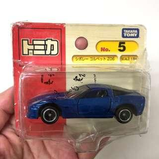 🚚 全新日本多美小汽車Takara Tomy TOMICA No. 5藍色雪弗蘭超跑Chevrolet Corvette Z06吊卡