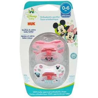 Disney Minnie Mouse Orthodontic Pacifier for 0-6 Months, NUK (2 Pacifiers)
