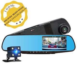 Car DVR Dual Lens Full HD 1080P Video Recorder Rearview Mirror Rear view Camera