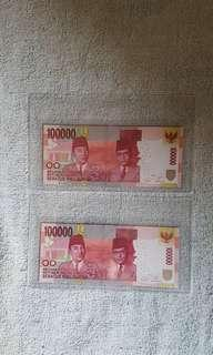 Indonesia solid number banknotes