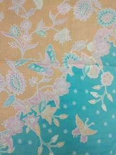 Kain Batik Katun Coklat Biru Muda