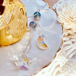 韓國純銀水晶耳環