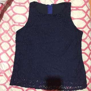 REPRICED!! Office Sleeveless navy blue blouse