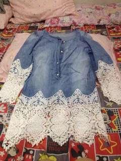 Soft denim long top