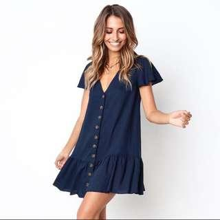 Navy blue button down dress