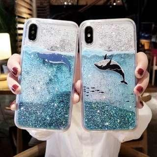 Samsung Note 8 Note 9 S9+ flowing glitter whale