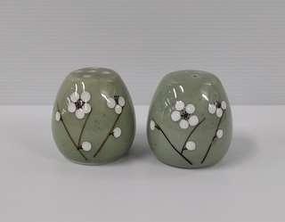 Green Glazed White Plum Design Porcelain Hand Painted Miniature Jar Salt And Pepper Shaker, Set of 2