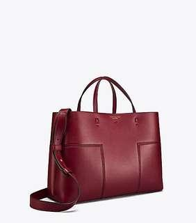 Tory burch block T compartment tote - maroon