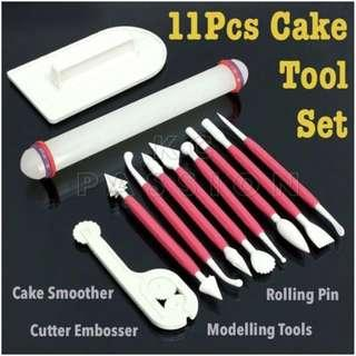 🎂11PCS FONDANT CAKE DECORATING TOOL SET [ Rolling Pin • Cake Smoother • Cutter Embosser • Modelling Tools ]