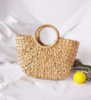 Straw Half Moon Bag