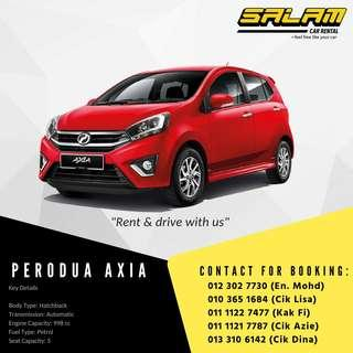 PERODUA VIVA, AXIA, MYVI & BEZZA FOR RENT!!