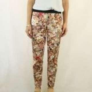 ZARA Floral Printed Slim Leg