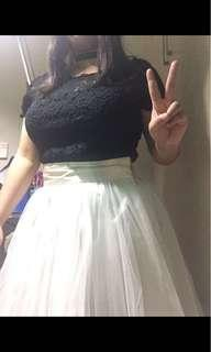 Terno Coord Black Lace Top And Cream Tulle Skirt