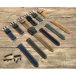 (門市設有錶帶專櫃) Apple Watch 錶帶 頭層啞色麂皮真皮錶帶 蘋果手錶錶帶 (可轉黑色錶扣及連接器) 38mm/42mm Apple Watch full-grain leather Strap (1)