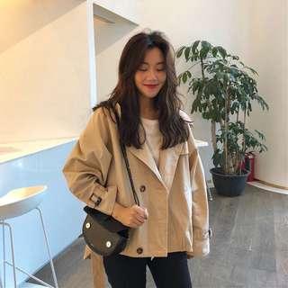 A1412🌸韓系百搭翻領短版風衣外套