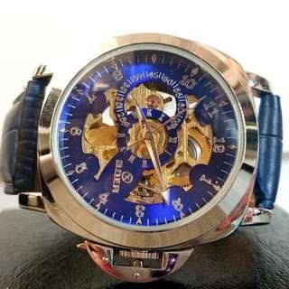 全自動機械銀鋼陀飛輪真皮手錶 Original Brand New Automatic Mechanical Silver Steel Tourbillon Genuine Leather Watch