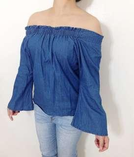 Off Shoulder Blue Soft Denim Jeans
