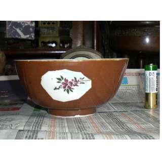 老舊紫金釉(醬釉)開窗手繪花奔陶瓷碗