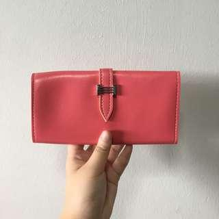 (CHEAP DEAL) Ladies Pink Coloured Folded Long Wallet