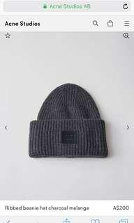 Acne Pansy S Face ribbed-knit beanie hat
