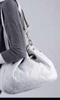 Dior CD cannage drawstring calfskin white
