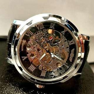 全自動銀鋼機械陀飛輪真皮手錶 Original Brand New Automatic Silver steel Mechanical Tourbillon Genuine Leather Watch