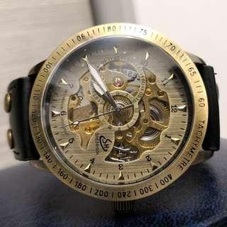 全自動機械復古金鋼陀飛輪真皮手錶 Original Brand New Automatic Mechanical Retro Gold and Steel Tourbillon Genuine Leather Watch