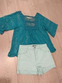 (SET) boho teal top & shorts