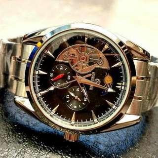 全自動銀鋼日月星機械鋼帶手錶 Original Brand New Automatic Silver Steel Sun and Moon Star steel Mechanical Watches