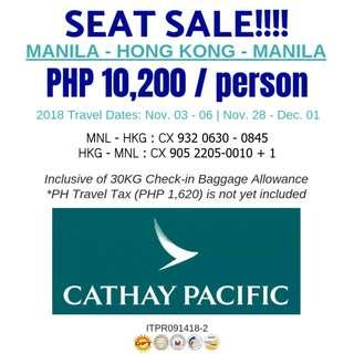 Seat Sale!!! Manila- Hong Kong - Manila via Cathay Pacific