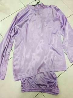 Baju Melayu Purple Satin