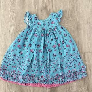 Pumpkin Patch Blue & Pink Floral Baby Girl Dress