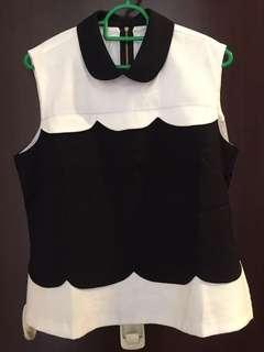 BN Miz Apparel black and white collar blouse top
