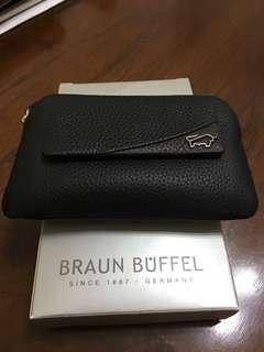 Braun Buffel coin purse with external card slot and key ring