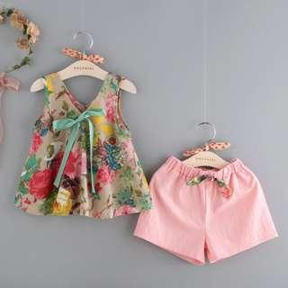 Summer Floral Printed Top&Pant Set