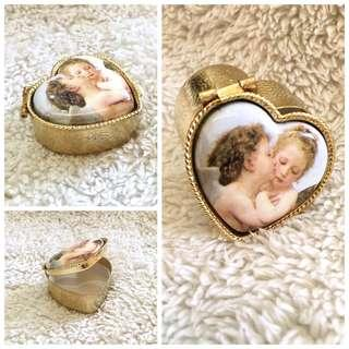 (Italy) Kissing Cupids Heart-Shaped Small Trinket/Pill Case