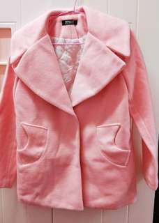 🚚 毛呢絨韓版冬日粉色大衣外套