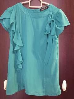 Yin & Yang turquoise Ruffles top