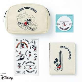 SURF MICKEY KAMAKURA SET POUCH, MIRROR AND STICKY NOTES Japan appendix