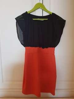 Dress orange mix black