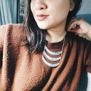 Hammered Silver Drape Necklace