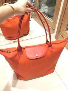 Longchamp orange le pliage large handbag