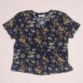 Vintage Chinese-style satin top (blue)