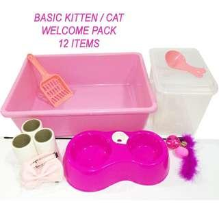 Basic Welcome Pack - Cat / Kitten Accessories (Ref: cat cage 2tier/3tier/ bowl / teaser / litter box)