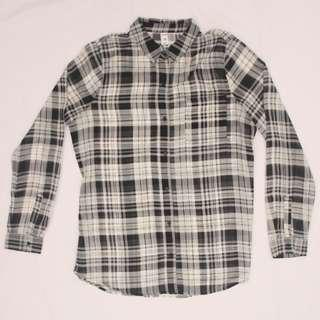 OLD NAVY checkered /  plaid blouse (black and white)
