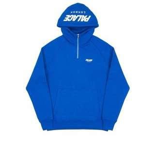 🚚 [L號] PALACE F/W 1/4 CUSTOM hoodie 帽T 超新二手 寶藍 拉鍊 滑板