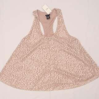 RUE 21 Sequined razorback top / blouse (blush / pink)