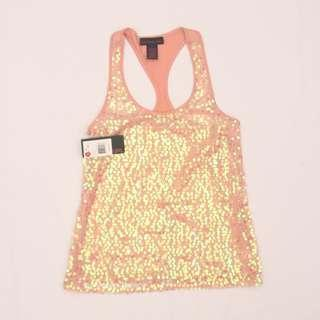 MATERIAL GIRL Teen's Sequined razorback top / blouse (blush / pink)