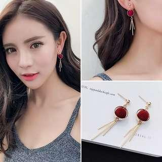 Korean Red and Gold Earrings