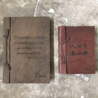 Genuine Leather Notebook with Custom Text